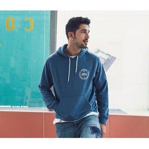 SIMWOOD 2020 İlkbahar Yeni Kapüşonlular Erkekler Moda Logo Baskı Tişörtü Artı boyutu mektup Kapşonlu Koşucular eşofman SJ120334