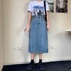 IeZvS # 2020 vestido nuevo LÍNEA skirt- larga delgada larga de talle alto Medio-longitud de la línea A- vestido de mezclilla falda de una de las mujeres rectas de la cadera