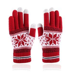 Fabricantes atacado Outono E Inverno luvas do toque de tela para homens e mulheres Moda floco de neve Dedo Adicionando Plush malha luvas quentes