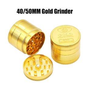 Voller Gold Grinder SF California Metall Zink-Legierung Rauchen 4 Schichten 40MM 50MM Grinder Tabak Vape Grinders Zubehör