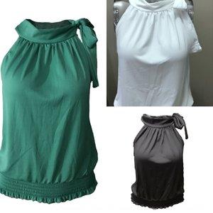 Novo verão sem mangas plissado t-shirt pullover pullover empate cinta sexy arco T-shirt para as mulheres