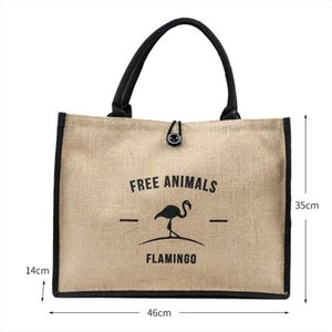New Summer Flamingo Owl Natural Linen Tote Large Capacity Female Casual Shoulder Bag Handbag For Women Beach Shopping Bag