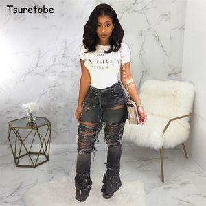 Tsuretobe Plus Size Sexy trou Ripped Jeans Flare Femmes Streetwear taille haute Pantalon large jambe Denim-Bas Pantalons de Bell Femme CX200821