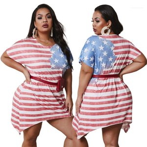 Lazer Estilo Moda Feminina Verão Mulheres Designer Vestidos American Flag Impresso Irregular Vestido Plus Size Urban