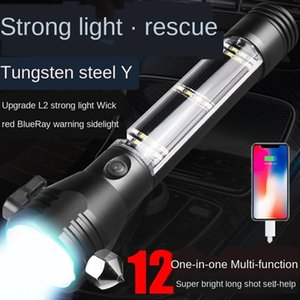 مطرقة النار سيارة USB متعدد الوظائف شحن السيارة محمولة على الطاقة الشمسية في حالات الطوارئ إنذار أداة الهروب السلامة إنذار مصباح المصباح nBUdk