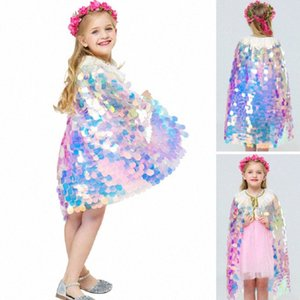 Kids Mermaid Sequin Cape Cosplay Baby Girls Glittering Princess Cloak Children Halloween Christmas Party Costume Clothing DHL SHip HH9 2lDf#