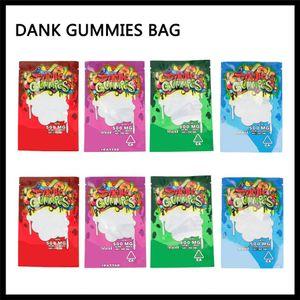 Dank Gummies Mylar Tasche 500mg Einzelhandel Zip-Verschluss Kindergesicherte Smellproof Plastiktasche 4 Arten für trockene Kräuter Tabak Blume Vape