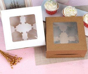 2020 Windowed Cupcake Boxes White Brown Kraft Paper Box Gift Packaging For Wedding Festival Party 4 Cup Cake Holders DHL Free
