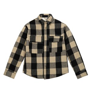20FW FEEAR OFF BUONA High Street Plaid Yellow Jacket Lattice bottoni vintage Giacca Coppia donne e mens Streetwear Moda cappotto HFXHJK128