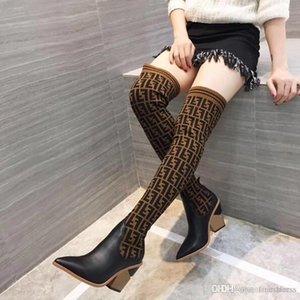 2020 novas mulheres ao longo dos carregadores joelho botas Sexy malha meias chunky calcanhar botas de inverno senhoras de luxo com caixa original