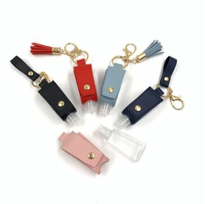 30ML Hand Sanitizer Bottle Cover T-shape Storage Bags PU Leather Tassel Holder Keychain Protable Keyring Cover OOA8287