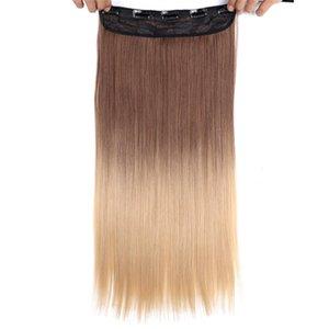 """22"""" Clip longue ligne droite en synthétique Extensions cheveux 130G / PC Noir Marron Rose Bleu Haute Tempreture Rouge Piece cheveux en vrac Extension de cheveux"""