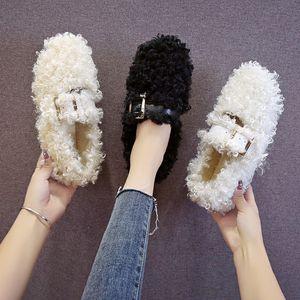 femmes Mocassins mocassins Mujer Mode Chaussures Chaussures de fourrure femmes Confortables Peas Femme Version Plus Velvet Boucle U16-25