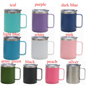 Fedex 12oz Stainless Steel coffee Mugs 12OZ Beer Cup with handle sealing Lid Double Wall Insulated Tea coffee mugs Outdoor Beer cup 10colors