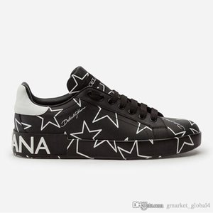 New men and women CALFSKIN NAPPA PORTOFINO SNEAKERS WITH MIXED STAR PRINT luxury designer shoes men and women sports shoes leather top quali