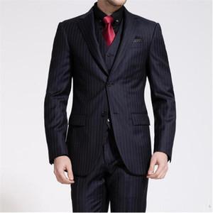 Новый элегантный мужской костюм Формальные Тонкий черные костюмы нашивки Groom Wedding For Men Шафер Paty Blazer С Мужские костюмы 3 шт (куртка