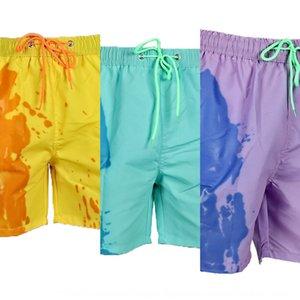 Pantalones cortos para hombres natación troncos de gran tamaño de secado rápido calentamiento que cambian de color pantalones cortos de playa de natación de verano de secado rápido de los troncos