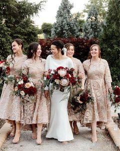 2020 Cheap tornozelo comprimento Champagne Lace Vestidos dama de honra mangas curtas Plus Size Custom Made dama de honra Convidado de Casamento vestidos para Jardim