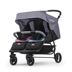 Pliegue Twins Cochecito puede sentarse y acostar a los gemelos PRAM Four Wheels Absorción de cuello Carruaje del bebé Carrito de bebé portátil