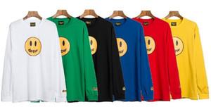 Moda plomo de calidad superior 2020ss Drew House cara de la sonrisa Melt camiseta de la manga Hombres Mujeres Parejas Tees Justin Bieber 100% algodón camiseta