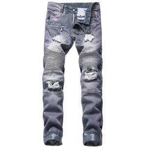 JEWUTO 2020 uomini dei jeans di marca di alta qualità dei jeans del foro di moto rettilineo motociclista degli uomini pantaloni del denim per il blu nero