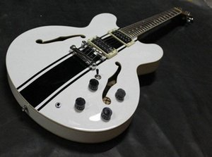Custom Shop ES 333 Tom Delonge Signature Semi Hollow Body Stripe Blanc Noir Jazz guitare électrique Trous Double F, Dot Inlay, Grover Tu 1UIa #