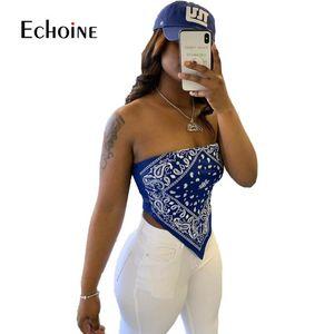 2020 Summer Casual Tshirts Women Strapless Sleeveless Bandana National Print Sexy Night Club Party Slim Tops