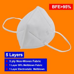 Atacado N 95 Máscara de 5 dobras Respirador BFE95% eletrostática Meltblown Registro US FD Administração DHL frete grátis