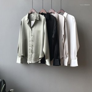 Lapel Neck Casual Clothing Famale Designer Shirt Ladies Solid Color Temperament Loose Shirt Fashion Long Sleeve