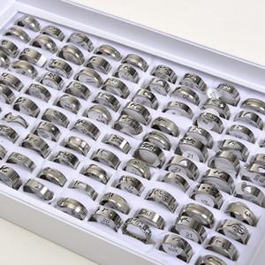 Moda cor prata oca anéis de aço inoxidável para homens mulheres misturar animais amor jesus etc tamanho estilo 17 milímetros de anéis da faixa 21mm