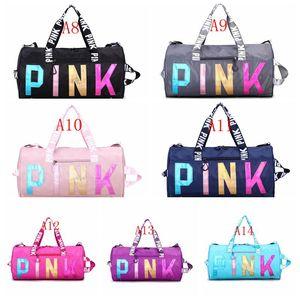 Viajes Yoga bolso de mano rosa láser Dufflel impresa letra bolsa de lona plegable Gym Fitness Sports bolsa de viaje bolsa de 2021 envío