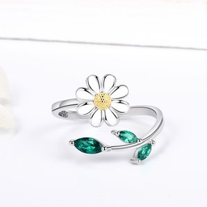 XiaoJing 100% 925 sterling silver white Enamel daisy Ring for women Lover Fashion Simple Jewelry Valentine's day gifts free ship