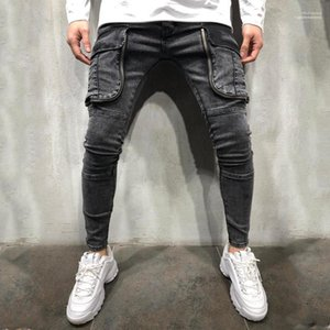 Jeans Big Fashion poches lambrissé Zipper Fly Jeans Hommes Designer hommes Vêtements décontractés Trou lambrissé Mens Designer