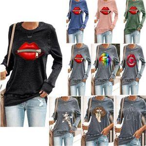 С длинным рукавом Tshirt Дизайнер Женский Новый Свободный Свободный Плюс Размер Tee Женщины Губы Zipper футболки Мода Occident Trend Круглый шеи