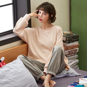 DOUCEUR Autumn Winter Long Sleeve Pamajas Sets 100% Cotton Solid O-Neck Loose Homewear Sleepwear for Women Night Home Clothes T200819