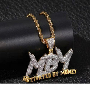 iced out MBM Motivated By Money pendant necklace for men women luxury designer mens bling diamond letters pendants hip hop chain necklace