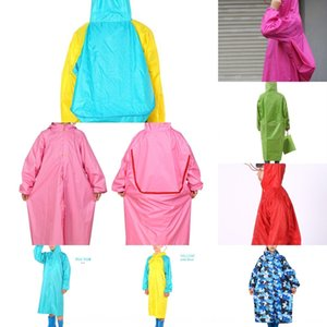 gWD0x Grande capa tamanho com crianças assento mochila grande chapéu de aba grande das crianças meninos estudante capa de chuva saco Manto capa e meninas engrossados