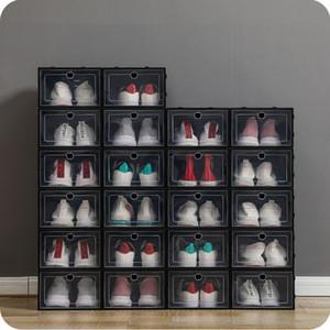 Kalınlaşmak Plastik Ayakkabı Kutuları Temizle toz geçirmez Ayakkabı Saklama Kutusu Şeffaf Kapak Şeker Renk İstiflenebilir Organizatör Kutuları Toptan 0269Pack Ayakkabı