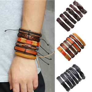 2020 New Men Bracelet 6pcs set Genuine Leather Bracelets Vintage Fashion Weave Bangles Women Bracelet Wristband Couples Gift
