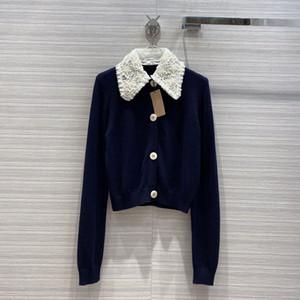 vêtements pour femmes européennes et américaines 2020 hiver nouveau style perle fleur à manches longues brodé pull en laine tricoté revers