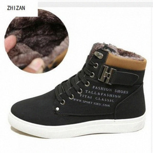 ZHIZAN New Men Shoes Fashion Warm Fur Winter Men Boots Autumn Leather Footwear For Man New High Top Canvas Casual Shoes shu9#