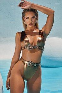 من ملابس موضة الزنانير شاطئ السباحة المرأة سباحة ملابس نسائية مصمم الساخن الذهب ملابس جنسي الجوف