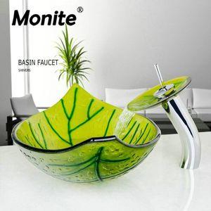 Monite Green Leaf Hand-Paint Стекло бассейна умывальника закаленное стекло бассейна раковина кран W / Set W / Drain для ванной комнаты