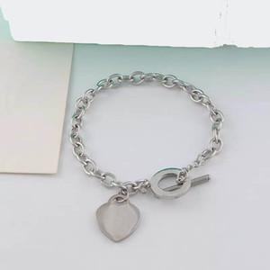 Joyería al por mayor diseñador de las mujeres de la pulsera del encanto del corazón del acero inoxidable 316L nunca se descolora Enlace pulseras de cadena de la boda regalo de las mujeres