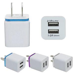 Металл Двойной USB стены зарядки порт штепсельной вилки 2.1A зарядное устройство США ЕС адаптер переменного тока зарядное устройство Разъем 2 для Iphone Xiaomi Samsung Примечание LG Tablet Ipad