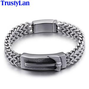 TrustyLan Punk Rocker Wrap Bracelets Hommes 2020 Bracelet large 14mm Marteau en acier inoxydable 316L pour les hommes Bijoux Armband Wristband