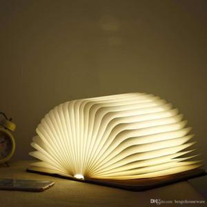 Ahşap Katlanır Taşınabilir Masa Lambası Çocuk Hediye Yaratıcı 15 * 11 * 2 .5 cm Kitap Şekli Işıkları USB Şarj Edilebilir Oturma Odası Dekor Kitap Işıkları BH1064 -1