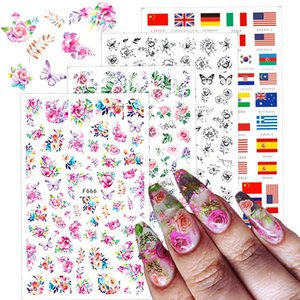 Manikür Yaz DIY Nail Art Dekor İpuçları TRF662-671 için 1 adet 3D Nail Çıkartması Çıkartma Charms Kelebek Çiçek Ulusal Bayrak Slider