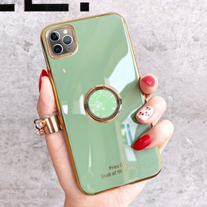 Luxury Solid Color Electroplated Phone Case ForSamsung Galaxy Note20 Ultra S20 S10 S9 Plus Note10 + Ring Holder Soft TPU Back Cover