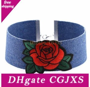 Presente de Natal declaração colares Punk Denim bordado Rose Choker Colar Para Mulheres Collar Flag Crown Charme Coração Diamante Jóias